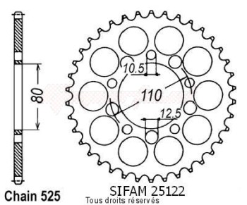 Product image: Sifam - 25122CZ45 - Chain wheel rear Xrv 750 Africa Twin 9   Type 525/Z45