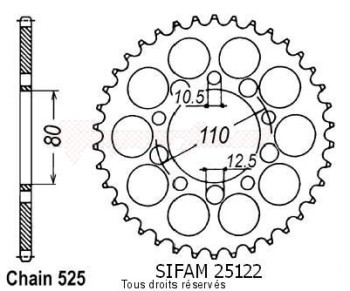 Product image: Sifam - 25122CZ46 - Chain wheel rear Xrv 750 Africa Twin 9   Type 525/Z46