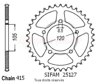 Product image: Sifam - 25127CZ51 - Chain wheel rear Aprilia 50 Rx 93-98   Type 415/Z51