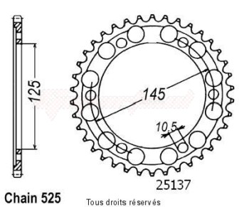Product image: Sifam - 25137CZ42 - Chain wheel rear Tdm 850 96-98   Type 525/Z42