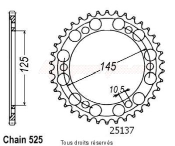 Product image: Sifam - 25137CZ43 - Chain wheel rear Tdm 850 99-01   Type 525/Z43