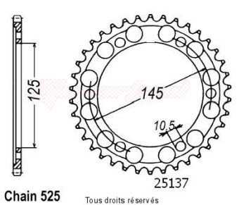 Product image: Sifam - 25137CZ44 - Chain wheel rear Tdm 850 91-95   Type 525/Z44