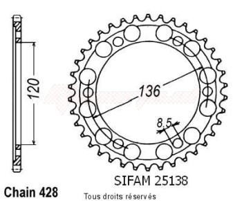 Product image: Sifam - 25138CZ47 - Chain wheel rear Tzr 125 R 92-93   Type 428/Z47