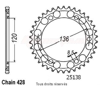 Product image: Sifam - 25138CZ57 - Chain wheel rear Tdr 125 R 93-98   Type 428/Z57