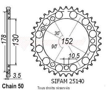 Product image: Sifam - 25140CZ46 - Chain wheel rear 900 Ie Elefant 93-97   Type 530/Z46