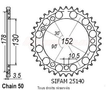 Product image: Sifam - 25140CZ48 - Chain wheel rear Cagiva 900 Elefant Ie   Type 530/Z48