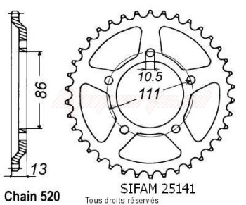 Product image: Sifam - 25141CZ43 - Chain wheel rear 600 Nord-west 91-94   Type 520/Z43