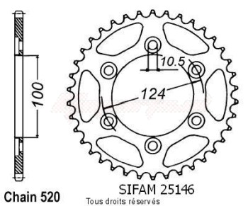 Product image: Sifam - 25146CZ36 - Chain wheel rear Ducati 600 Ss 94   Type 520/Z36