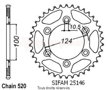 Product image: Sifam - 25146CZ37 - Chain wheel rear Ducati 750 Ss 91-96 900 Ss 91-98 Type 520/Z37