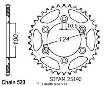 Product image: Sifam - 25146CZ38 - Chain wheel rear Ducati 750 Monster 96   Type 520/Z38