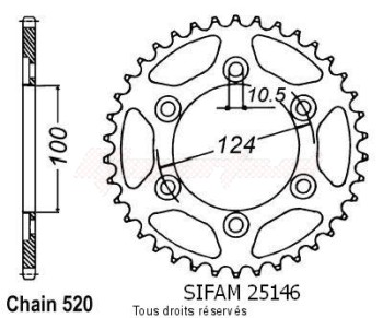 Product image: Sifam - 25146CZ40 - Chain wheel rear Ducati 750 Ss 99   Type 520/Z40