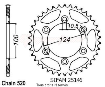 Product image: Sifam - 25146CZ41 - Chain wheel rear Ducati 600 Ss 95-98   Type 520/Z41