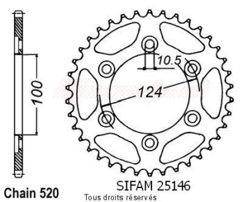 Product image: Sifam - 25146CZ48 - Chain wheel rear Ducati 620 Monster   Type 520/Z48