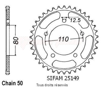 Product image: Sifam - 25149CZ46 - Chain wheel rear Triumph 900 Super Iii   Type 530/Z46