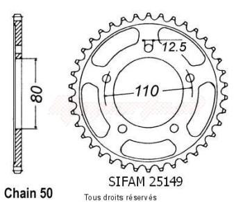 Product image: Sifam - 25149CZ48 - Chain wheel rear Triumph 900 Tiger Z48   Type 530/Z48