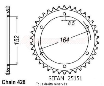 Product image: Sifam - 25151CZ55 - Chain wheel rear Sr 500 91-95   Type 428/Z55
