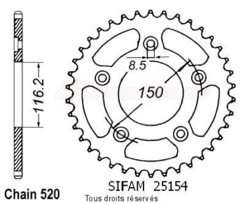 Product image: Sifam - 25154CZ42 - Chain wheel rear 250 Rs 95-99   Type 520/Z42