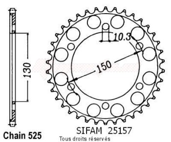 Product image: Sifam - 25157CZ39 - Chain wheel rear 850 Trx 96-98   Type 525/Z39