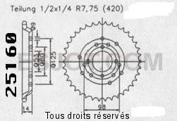 Product image: Sifam - 25160CZ48 - Chain wheel rear Derbi 50 Fenix 96-99   Type 420/Z48
