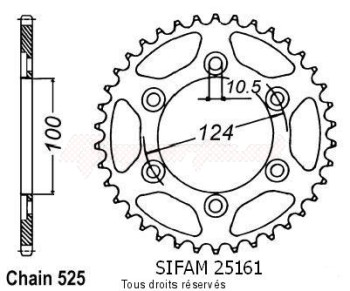 Product image: Sifam - 25161CZ38 - Chain wheel rear Ducati 996 St4   Type 525/Z38