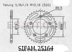 Product image: Sifam - 25164CZ43 - Chain wheel rear Cagiva 125 Planet 99 6 Spokes Type 520/Z43