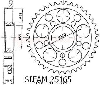Product image: Sifam - 25165CZ36 - Chain wheel rear Ducati 916/996 Strada 5 holes without Hub