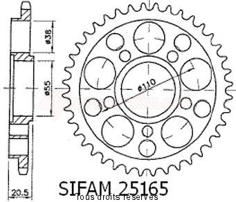 Product image: Sifam - 25165CZ40 - Chain wheel rear Ducati 916/996 Strada 5 holes without Hub