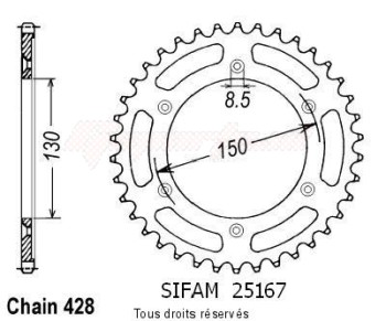 Product image: Sifam - 25167CZ51 - Chain wheel rear Xlr 125 R 97-98   Type 428/Z51