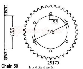 Product image: Sifam - 25170CZ42 - Chain wheel rear Triumph 955i Mono 02-   Type 530/Z42