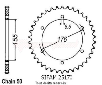Product image: Sifam - 25170CZ43 - Chain wheel rear Triumph T509/T595 97-   Type 530/Z43