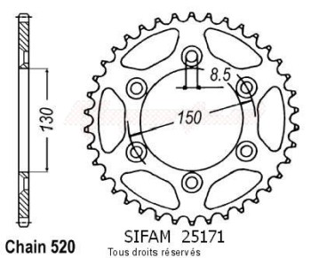 Product image: Sifam - 25171AZ50 - Chain wheel rear Yamaha 125/250/400 Yz/Wr 99 07 Type 520/Z50
