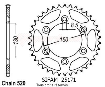Product image: Sifam - 25171AZ51 - Chain wheel rear Yamaha 125/250/400 Yz/Wr 99 07 Type 520/Z51