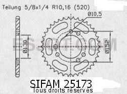 Product image: Sifam - 25173CZ45 - Chain wheel rear Cagiva 600 Canyon 96-   Type 520/Z45