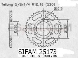 Product image: Sifam - 25173CZ46 - Chain wheel rear Cagiva 500 Canyon 98-   Type 520/Z46