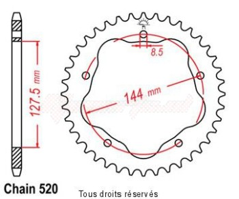 Product image: Sifam - 25175CZ42 - Chain wheel rear Ducati 800 S2R without PORTE Hub Type 520/Z42