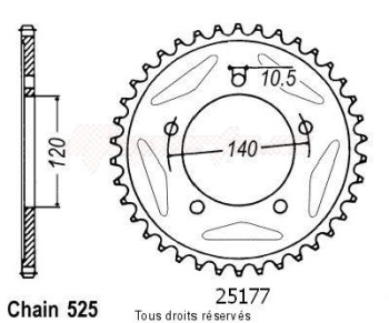 Product image: Sifam - 25177CZ42 - Chain wheel rear Gsx-r 750 00-01   Type 525/Z42