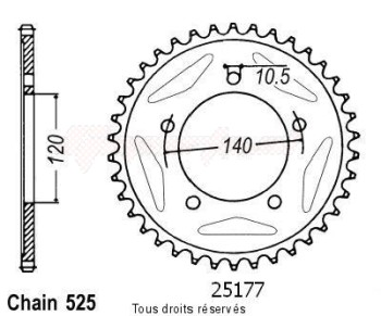 Product image: Sifam - 25177CZ43 - Chain wheel rear Gsx-r 600 06-07   Type 525/Z43