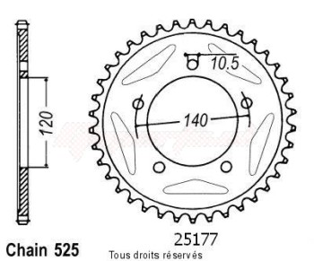 Product image: Sifam - 25177CZ45 - Chain wheel rear Gsx-r 750 00-01   Type 525/Z45