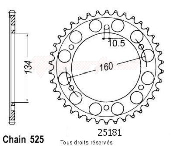Product image: Sifam - 25181CZ42 - Chain wheel rear Honda Cbr 600 Rr 03-   Type 525/Z42