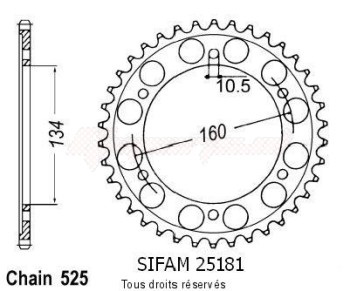 Product image: Sifam - 25181CZ46 - Chain wheel rear Honda Cbr 600 F1 Spor   Type 525/Z46