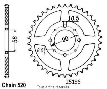 Product image: Sifam - 25186CZ44 - Chain wheel rear Xl 125 Varadero 00-01   Type 520/Z44
