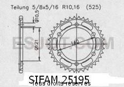 Product image: Sifam - 25195CZ45 - Chain wheel rear Cagiva 650 Raptor   Type 525/Z45
