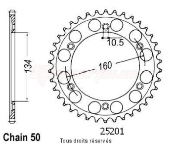 Product image: Sifam - 25201CZ40 - Chain wheel rear Vtr 1000 Sp-1 00-01   Type 530/Z40