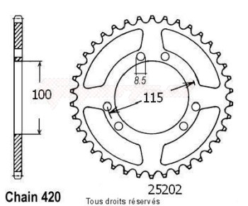 Product image: Sifam - 25202CZ46 - Chain wheel rear Gilera 50 Gsm 99-  P   Type 420/Z46