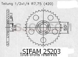 Product image: Sifam - 25203CZ44 - Chain wheel rear Rieju 50 Rs1 Evolutio   Type 420/Z44