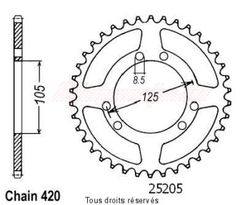 Product image: Sifam - 25205CZ48 - Chain wheel rear Rieju 50 Mrx 00- Chain wheel rear 6 mounting holes Type 420/Z48