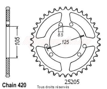 Product image: Sifam - 25205CZ50 - Chain wheel rear Derbi Senda 50 00- Chain wheel rear 6 mounting holes Type 420/Z50