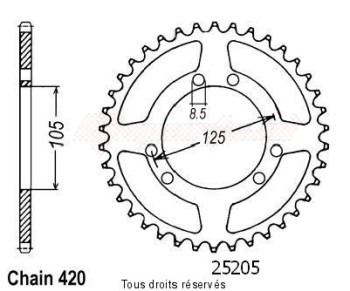 Product image: Sifam - 25205CZ53 - Chain wheel rear Derbi 50 Senda 00- Chain wheel rear 6 mounting holes (2 par 2) Type 420/Z53