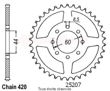 Product image: Sifam - 25207CZ52 - Chain wheel rear 50 Dtr/X-limit Chain wheel rear 8 mounting holes Type 420/Z52