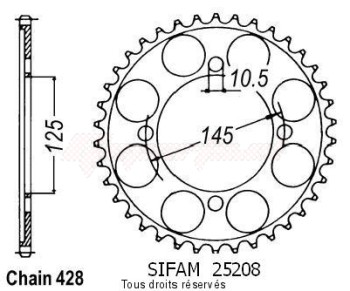 Product image: Sifam - 25208CZ59 - Chain wheel rear Xvs 125 Dragstar 00-   Type 428/Z59